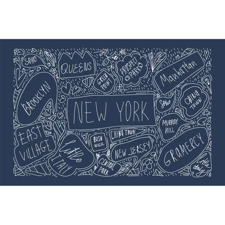 Hand-drawn illustration of a map of new York city on a black background. With handwritten names of districts and landmarks in Brooklyn, green point, Manhattan, Chinatown, new Jersey. The concept of travel in NY city. Banner or postcard with symbols of the city of new York USA drawn in the style of Doodle. Vector illustration