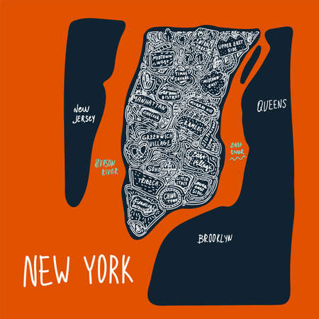 Map of Manhattan in parts of the city of new-York, USA. A flat hand-drawn illustration drawn in a line on a dark background. Attractions and places in the United States States, new York city, district, tourist places clipart. A city drawn in the Doodle cartoon style. Travel to cities and districts of the United States, tourist poster of the city of new York comics. Vector illustration Ilustração