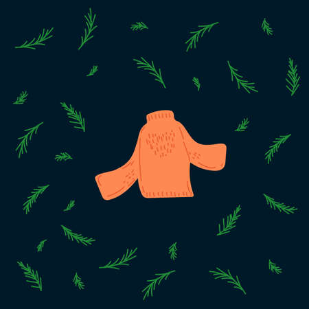illustration of the New year with a jacket. Picture with a jacket symbol of winter time, in a circle of green Christmas trees. Drawn warm clothes in Doodle style. Happy new year 2021.