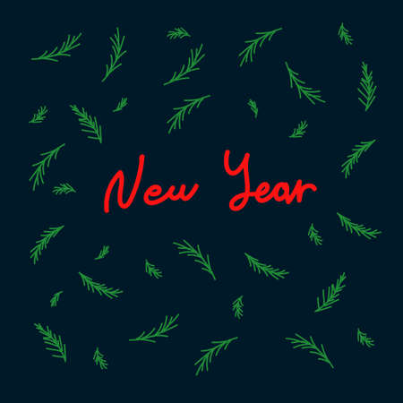 New year's card with lettering in a circle of green Christmas trees. Children's illustration with New year lettering, for Christmas cards. Drawn in the Doodle style. Happy new year 2021.