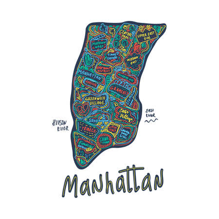 Color Map of Manhattan, new York city, USA. Hand-drawn illustration in Doodle cartoon style on a dark background. Attractions and places in the United States States, new York city, district, tourist places clipart. New York city USA, travel to the cities of the States tourist poster of Manhattan illustration