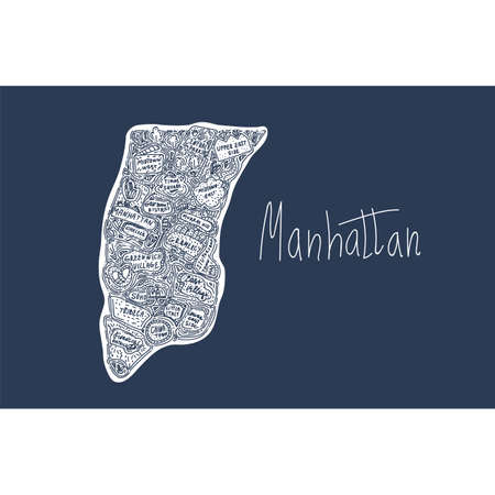 Vector map of Manhattan new York USA. Flat hand-drawn illustration on a dark background. Attractions in the United States States, city, district, tourist places clipart. The name is drawn in the cartoon style of Doodle. Travel to the States and cities of the United States, tourist poster of cities and States of comics. Vector illustration