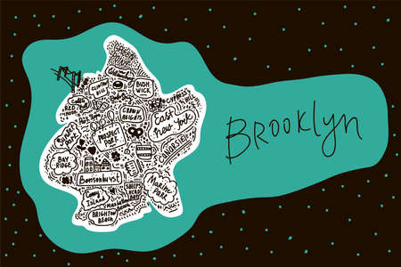 Vector Map of Brooklyn new York USA flat hand-drawn illustration.  Travel to the USA, travel poster comics drawn in the Doodle style. Vector illustration