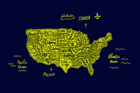 A map drawn in the Doodle style of the United States of America. America in cute cartoon pictures on the map. Vector illustration