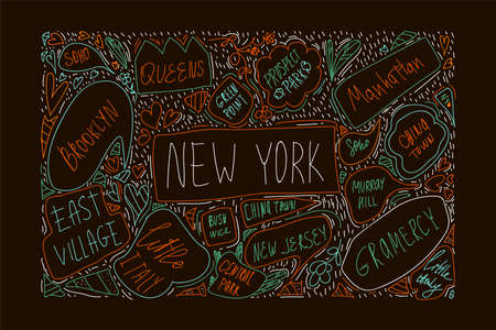 Hand-drawn illustration of new York city map. With handwritten names of districts and attractions. Brooklyn, Green Point, Manhattan, Chinatown, New Jersey. The concept of travel in NY city. Banner with symbols of the city of new York in the United States drawn in the style of Doodle. Vector illustration