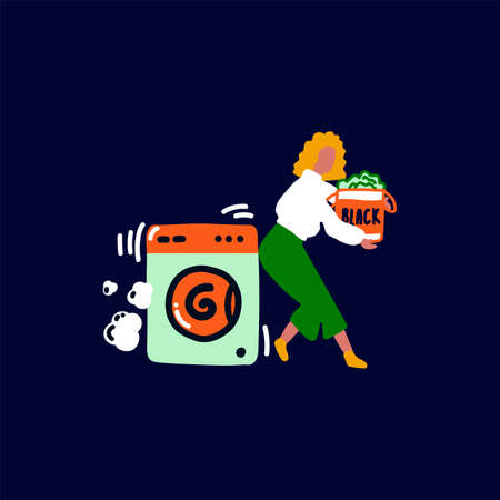 Vector illustration of Laundry service. Image of a female character in the Laundry service: washing machine, washing powder and dirty clothes. Cleaning yourself, cleaning your clothes, taking care of your clothes in the Laundry service. Flat vector illustration. Vector illustration