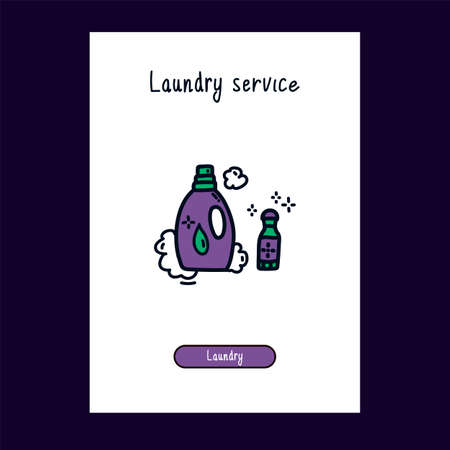 Icon of liquid Laundry detergent and stain remover for the Laundry room in the Doodle style. Icon for Laundry room hand-drawn in color. Product card template with the product for the Laundry room. Doodle beautiful for Laundry room color icons. Vector illustration Vektorgrafik