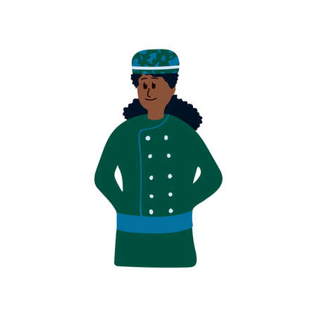 Illustration of an ethnic womens bakery. Stylized idea of women Baker. Cartoon character drawn by hand in the flat style. Vector illustration Ilustração