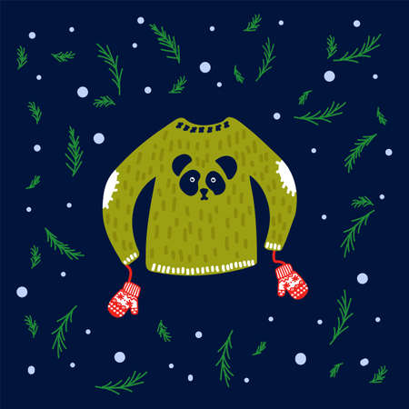 Illustration for New year sweatshirts with a pattern. Vector image with a green jacket and mittens. Illustration in a circle of green Christmas trees and snow. Hand-drawn warm clothing in the style of doodles with a Panda and snowflakes. Happy new year 2021 and merry Christmas. Vector illustration Illusztráció
