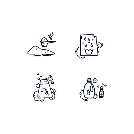 Set Of icons for the Laundry service. Icon collection: bleaching and Laundry detergents are suitable for the Laundry room. Hand-drawn icons in a line. Doodle beautiful for Laundry black and white icons. Vector illustration