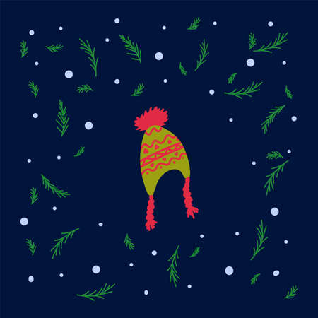 Vector illustration for New year winter hat. Image with a cap with brushes and a drawing on a dark background. In a circle of green Christmas trees and snow. Hand - drawn warm clothing in the style of doodles. Happy new year 2021. Vector illustration Illustration