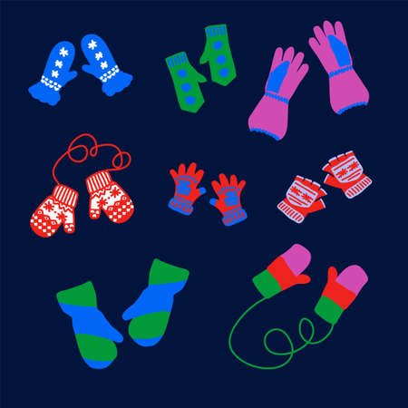 Large set of mittens and gloves for winter. Vector collection of illustrations with accessories for the New year: multicolored mittens and gloves on a dark background. Hand-drawn Christmas accessories for winter in the style of doodles. Happy new year 2021. Vector illustration