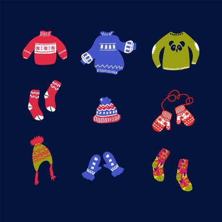 A large set of illustrations of winter clothing and accessories. Vector Image with winter clothing: red mittens, sweaters, hats and socks on a dark background. Hand-drawn warm clothing and accessories for winter in the style of doodles. Happy new year 2021. Vector illustration
