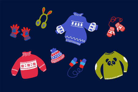 Winter set of clothing illustrations. Vector collection with clothes for the New year: red mittens, sweaters, hats and socks on a dark background. Hand-drawn Christmas clothes and accessories for winter in the style of doodles. Happy new year 2021. Vector illustration Illusztráció