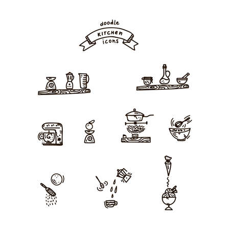 Vector set of kitchen Doodle illustrations. Design collection kitchen cafe: Cooking food, kitchen utensils, pots, pans, spoons, knives, ladles, combines, mixer, kitchen wall art. Linear icons restaurant wall Doodle. cartoon art of cooking food in the Doodle style kitchen. Vector illustration