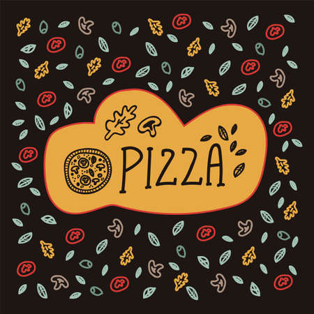 Cartoon illustration with the inscription Pizza in the style of doodles. Vector design of a picture  for a pizzeria in a circle of elements of pizza, food. Pattern for pizzeria wall emblem Doodle hand drawn line. Vector illustration Vectores