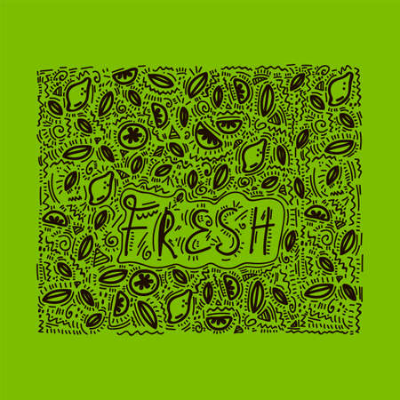 Fresh Kitchen Doodle background. Vector background kitchen cafe: Cooking food, fresh lettering in a circle of lemon, lime and mint leaves. kitchen utensils, beautiful wall design linear art. Pattern restaurant and kitchen wall Doodle hand-drawn line. Vector illustration Ilustración de vector