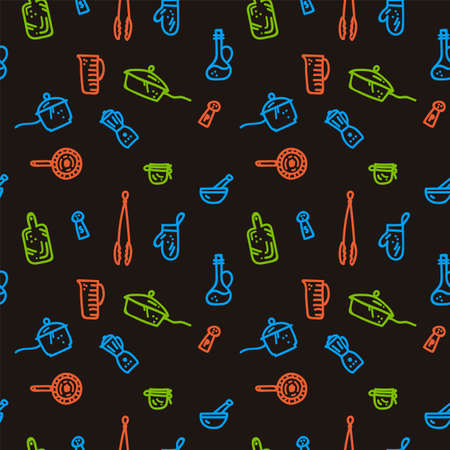 Vector linear kitchen Doodle background. Multi-color pattern image design for pizzeria or kitchen. Kitchen textile backing, aprons, towels, cartoon wall painting Doodle hand drawn line. Vector illustration Vectores