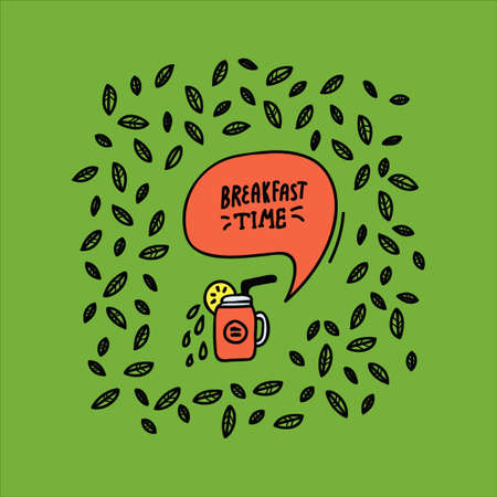 Bright background with the inscription Breakfast time design Kitchen Doodle. Vector background of cafe: Cooking food, inscription Breakfast Time with a glass in a circle of mint leaves, beautiful wall design linear art. Pattern restaurant and kitchen wall Doodle hand-drawn line. Vector illustration