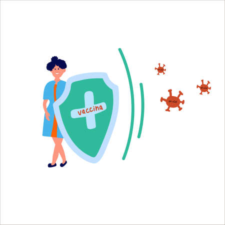 Illustration of a woman with a protective shield and the inscription Vaccine. The concept of vaccine and women's idea of protection and control against COVID-19 viruses.  Vector illustration