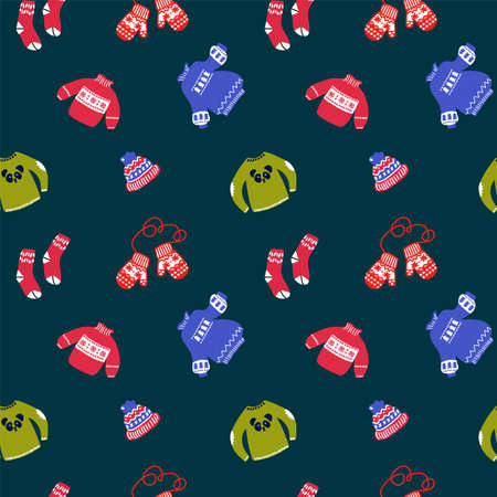 Winter vector background of clothing illustrations. Pattern with clothes for the New year: red mittens, sweaters, hats and socks in the flat style. Texture hand-Drawn Christmas clothing and accessories for winter. Happy new year 2021. Vector illustration