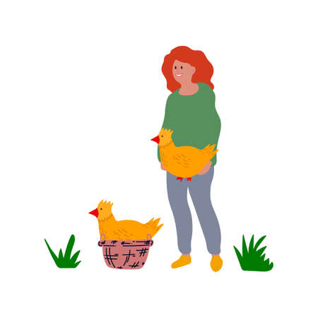 Vector Illustration of a girl with an Easter chicken. Cute greeting card with yellow chick. Concept of festive Easter illustration chicks hand-drawn Easter in flat style. Happy spring holiday of Easter. Vector illustration