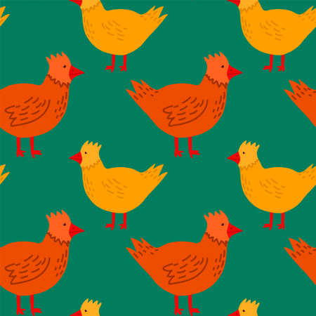 Spring background of yellow and red hens. Cartoon pattern with cute pet birds. Seamless background on green with Easter chickens. Happy spring holiday of Easter. Vector illustration  イラスト・ベクター素材