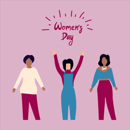Vector illustration with women and Womens day banner. Greeting card on March 8. Feminist poster for the freedom and equality of the sexes. Vector illustration Stock Illustratie