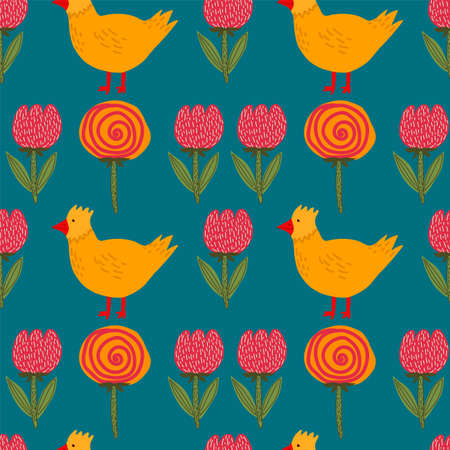 Vector background of yellow chickens and chickens with flowers. Spring pattern with cute animals and plants. Background picture of festive Easter chickens. Happy spring holiday of Easter. Vector illustration  イラスト・ベクター素材