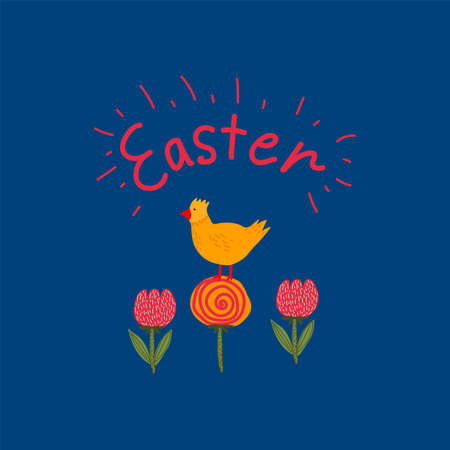Spring greeting card with Easter chicken with the inscription. Concept of festive Easter illustration with poultry and flowers. Hand-drawn landscape for Easter in a flat style. Happy spring holiday of Easter. Vector illustration