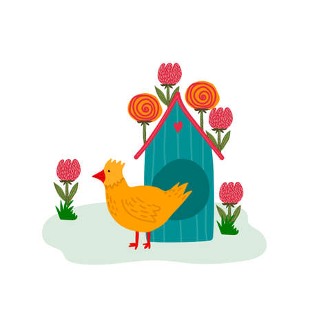 Vector illustration with an Easter chicken. Cartoon greeting card with yellow chick and house. Concept of festive Easter illustration of chicks and cute chicken coop hand drawn by Easter. Happy spring holiday of Easter. Vector illustration