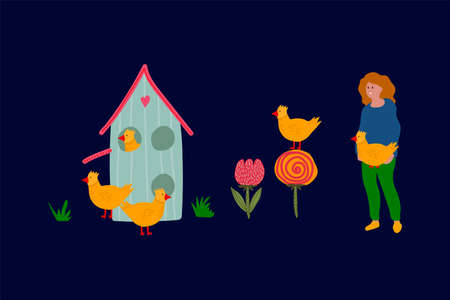 Spring vector Illustration of a girl with Easter chickens. Cute greeting card with yellow Chicks and a blue house. The concept of a festive Easter illustration of chickens with a girl drawn Easter in a flat style. Happy spring holiday of Easter. Vector illustration  イラスト・ベクター素材