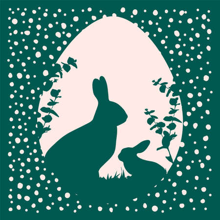 Vector Illustration of Easter bunnies. Cute retro greeting card with vector background. Illustration in the form of a contour drawn by hand for the Easter holiday in a flat style. Happy spring holiday of Easter. Vector illustration  イラスト・ベクター素材