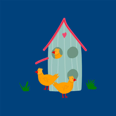 Spring vector Illustration with Easter chickens and a cute house. Concept of festive Easter illustration with hand-drawn Easter in flat style. Happy spring holiday of Easter. Vector illustration  イラスト・ベクター素材