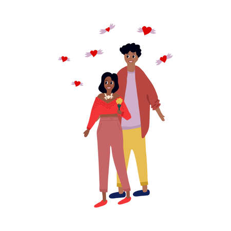 Vector clip art of a couple in love on a date. A man and a woman are in love on a romantic date. Girl with a flower on Valentine's Day. Charming couple with hearts around on love day. Vector illustration
