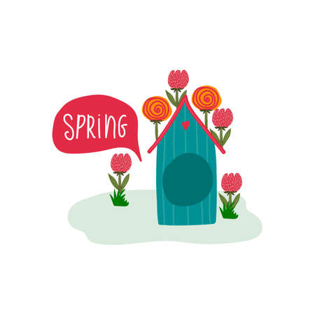 Spring vector illustration with a house. Cartoon spring illustration with a cute animal house drawn by hand. Beautiful greeting card with the first day of Spring. Vector illustration 向量圖像
