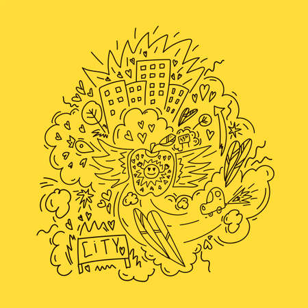 Illustration of Doodle city streets of New York. Hand-drawn vector sketch of the urban streets of the United States. Street with the inscription of the city. Vector illustration 矢量图像