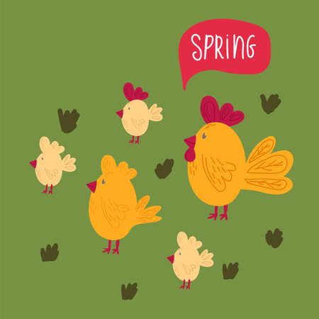 Illustration of yellow hens and Chicks in Spring. Cartoon background with cute animals. Doodle of festive Easter chickens with the inscription Spring. Happy spring holiday of Easter. Vector illustration