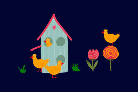 Spring greeting card with Easter chickens and a cute house. Concept of a festive Easter illustration with yellow chickens and a flower bed. Hand-drawn landscape with animals for Easter in a flat style. Happy spring holiday of Easter. Vector illustration