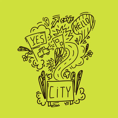 Vector Doodle New York. Hand-drawn vector sketch of the urban streets of the United States. Street with the inscription of the City. Urban environment road signs, car, houses, trees, plants, flowers. Vector illustration 矢量图像