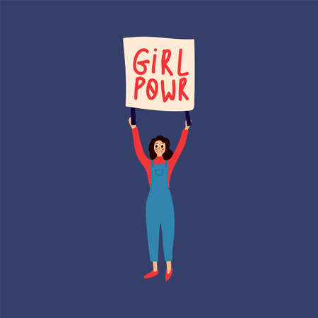 Illustration of a woman with a poster. Feminist postcards of a girl with the inscription Girl Power. Women's protest art on international women's day. Hand-drawn people with a flat-style banner. Vector illustration