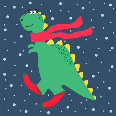 Winter illustration of a Dinosaur. Dino character with a scarf and socks. Christmas card with a wild animal. Cute dinosaur in red socks for Christmas. Happy new year 2021. Vector illustration