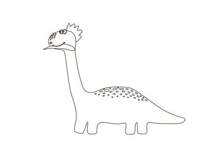 Coloring book for kids Cute dinosaur. Cartoon drawing for children's creativity. Dinosaur for drawing and children's Hobbies. Stylized animal drawn in the style of the flat from the hands of children. 向量圖像