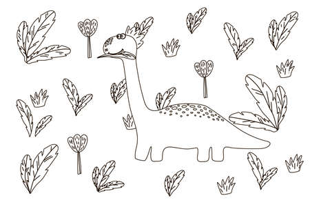 Coloring book for kids dinosaur in the forest. Hobby drawing for children. Creative dinosaur drawn in the style of the flat from the hands of children. Paint Dino with different colors as a child. Vector illustration