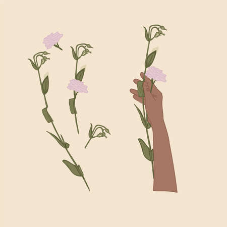 Flowers in the hands of a person. Beautiful hands and gestures of a woman drawn in vector. The flower in her hand. Present a woman for a holiday: Women's day, March 8, Mother's Day, Daughter's Day and a beloved woman. Flat isolated illustration. Vector illustration