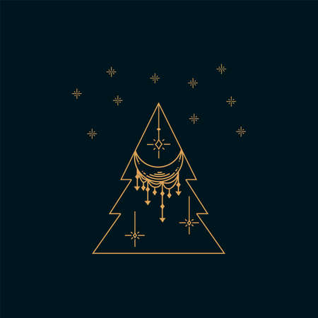 Linear illustration of a Christmas tree. Symbol of a happy New year. Hand-drawn holiday Christmas card in a line. Light decorations and lights sparkle in the sky. Bright and shiny design illustration. Vector illustration