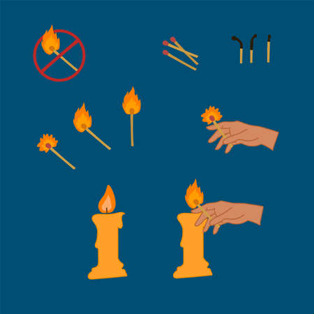 Set a Safe match, and fire. A collection of illustrations of matches and flames with it for a beautiful design.