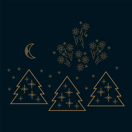 Festive illustration of a Christmas tree forest. Happy New year and merry Christmas in the sparkling forest. Drawn in gold from the hands of a linear festive Christmas card. Lights sparkle on Christmas trees. Fireworks are booming in the festive sky. Sparkling vector illustration for your design. Vector illustration  イラスト・ベクター素材