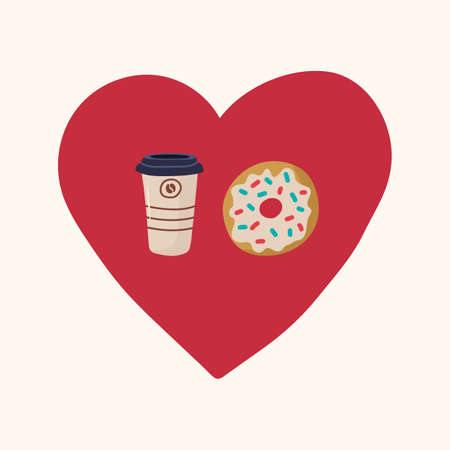 A Cup of takeaway coffee with a doughnut in the circle of the heart. Beautiful illustration of love for Breakfast with coffee and donut.