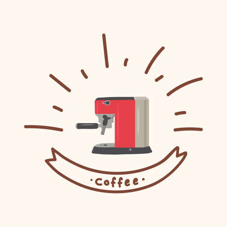 Coffee machine poster in the Doodle circle. Drawn in a flat style for a coffee shop or restaurant. Poster Menu for hot drinks. For making Americano, Latte, Cappuccino, RAF, Espresso. Clipart coffee Machine at home or in a restaurant. Vector illustration